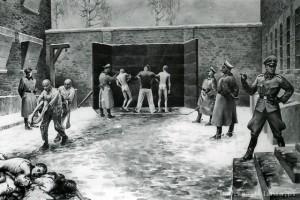 Egzekucja pod Ścianą Straceń na dziedzińcu bloku nr 11- obraz b. więźnia KL Auschwitz, Władysława Siwka