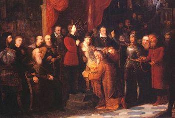 Carowie Szujscy wprowadzeni przez Żółkiewskiego na sejm warszawski przed Zygmunta III