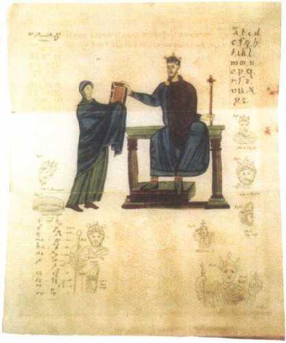 Matylda wręcza Mieszkowi II księgę liturgiczną